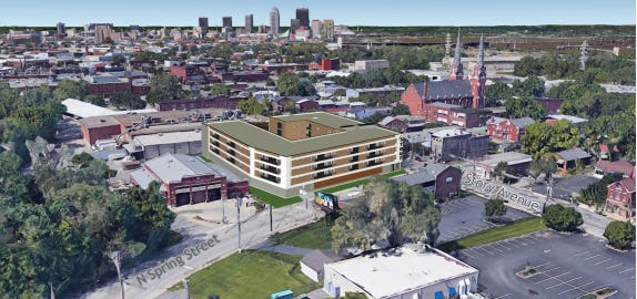 A rendering of the apartment complex looking west toward downtown.