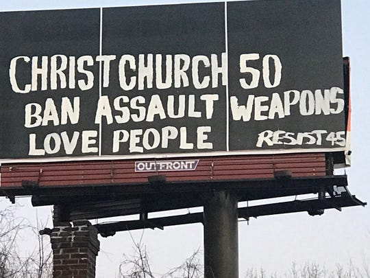 Here's what appeared on the billboard before it was covered up.