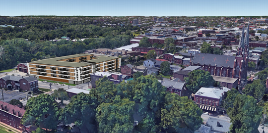 A rendering of the apartment complex looking south west.