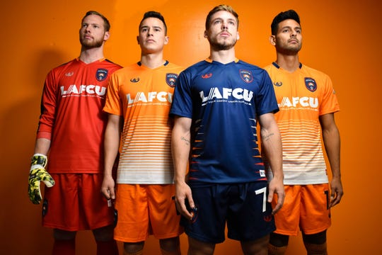 Lansing Ignite unveiled its jerseys for the 2019 season at The View at Cooley Law School Stadium on Monday. The orange jerseys are the home kits, blue for away matches and the red is the goalkeeper jersey.