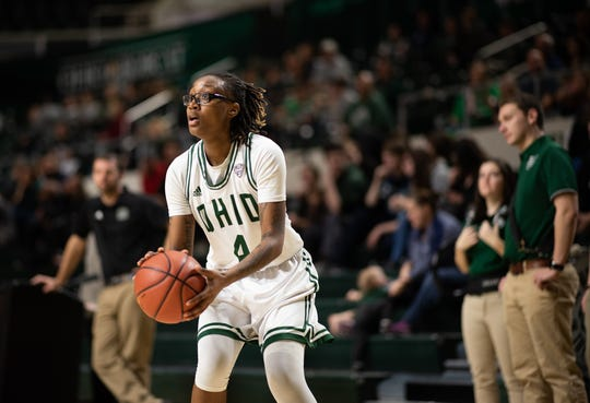 Mansfield Senior alum Erica Johnson sets up for a shot during her redshirt freshman season at Ohio University where she was named the Mid-America Conference Freshman of the Year.