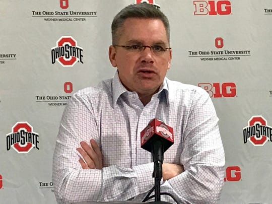 Ohio State men's basketball coach Chris Holtmann addresses the media Sunday after after seeing his Buckeyes selected to the NCAA Tournament.
