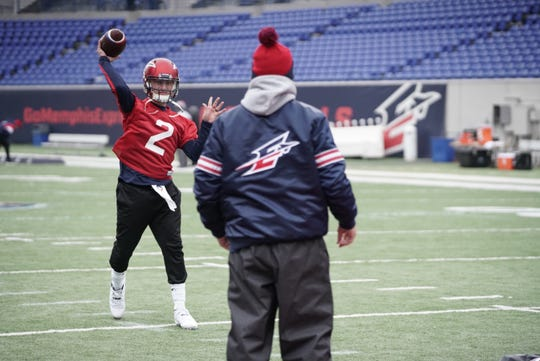 Express quarterback Johnny Manziel throws a pass during Monday's light workout at Liberty Bowl Memorial Stadium.