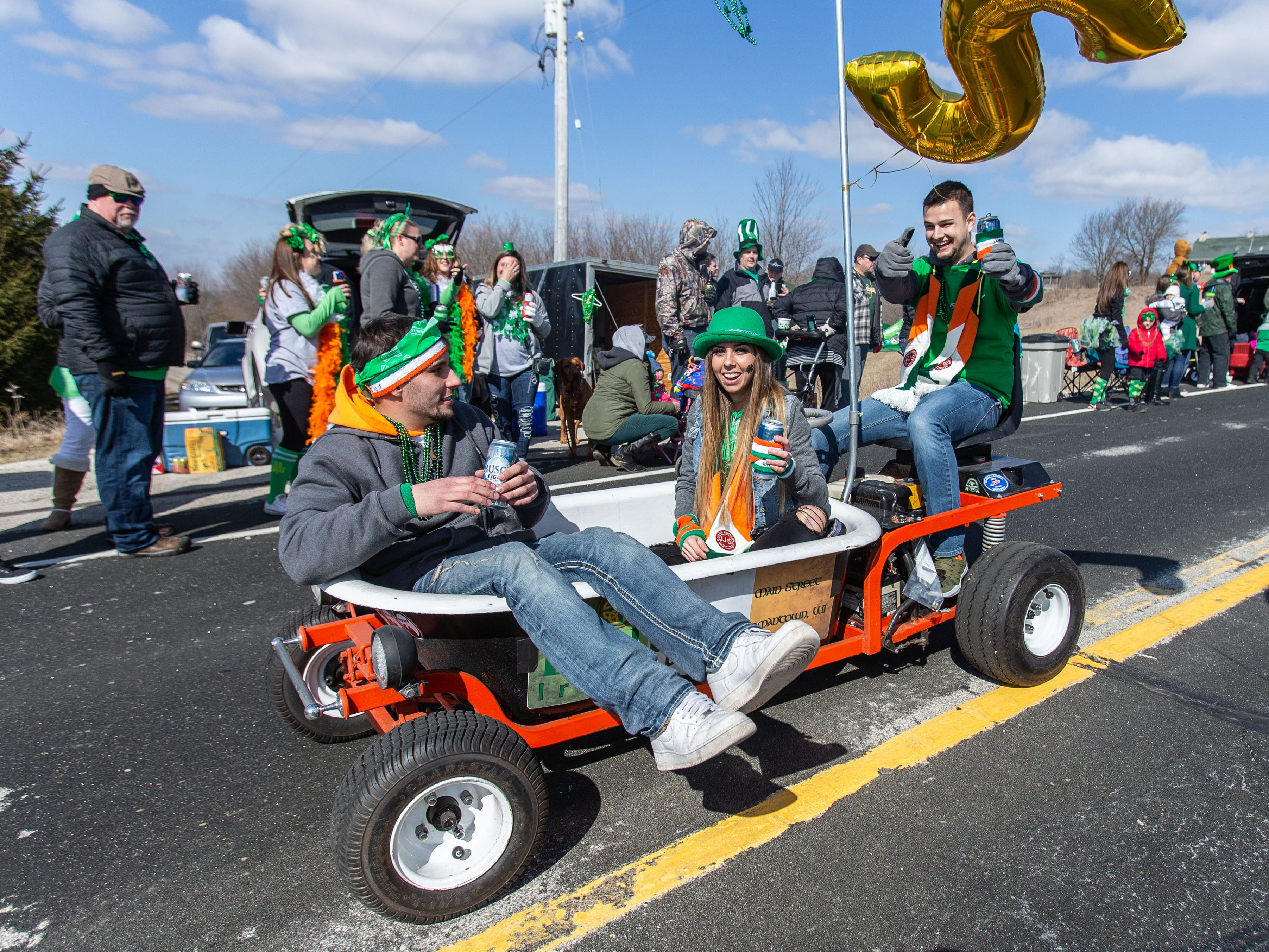The always popular motorized bath tub from Bubs Irish Pub cruises past during the 39th annual Town of Erin St. Patrick's Day Parade on Sunday, March 17, 2019.