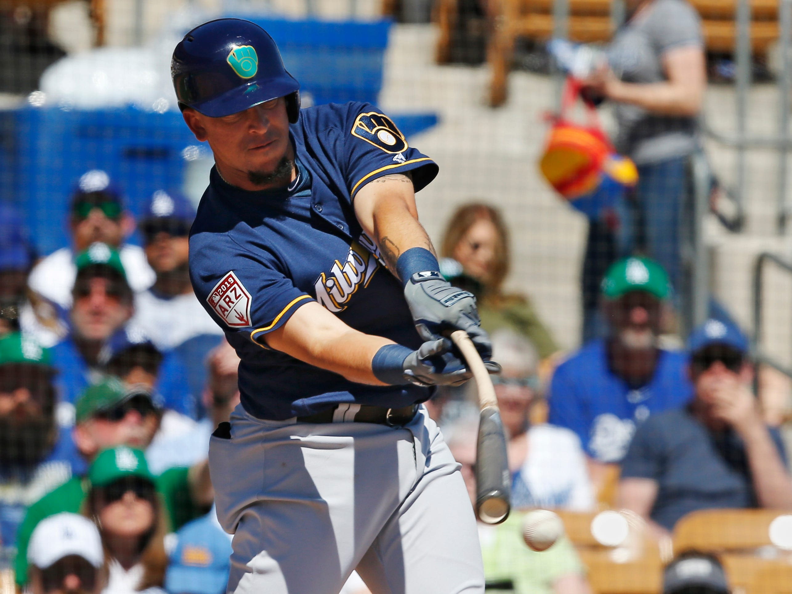 Milwaukee Brewers' Hernán Pérez grounds out in the first inning of a spring training baseball game Sunday, March 17, 2019, in Glendale, Ariz. (AP Photo/Sue Ogrocki) ORG XMIT: AZSO102