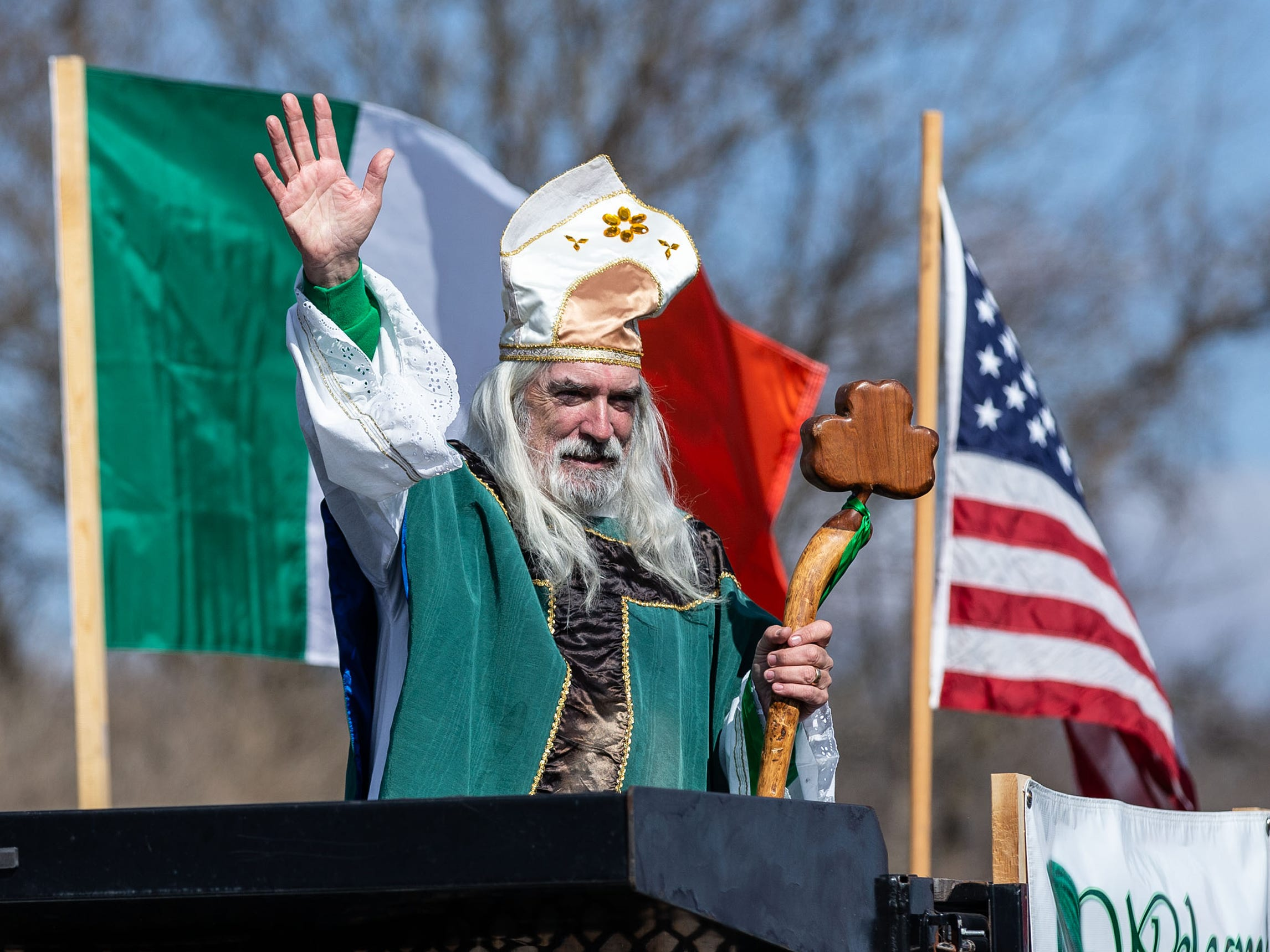 St. Patrick leads the procession south on Highway K during the 39th annual Town of Erin St. Patrick's Day Parade on Sunday, March 17, 2019.