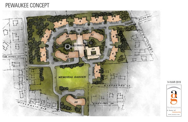 A conceptual plan for a 200-unit senior living facility being looked at by Capri Communities for property at 449 W. Wisconsin Ave. in the village of Pewaukee.
