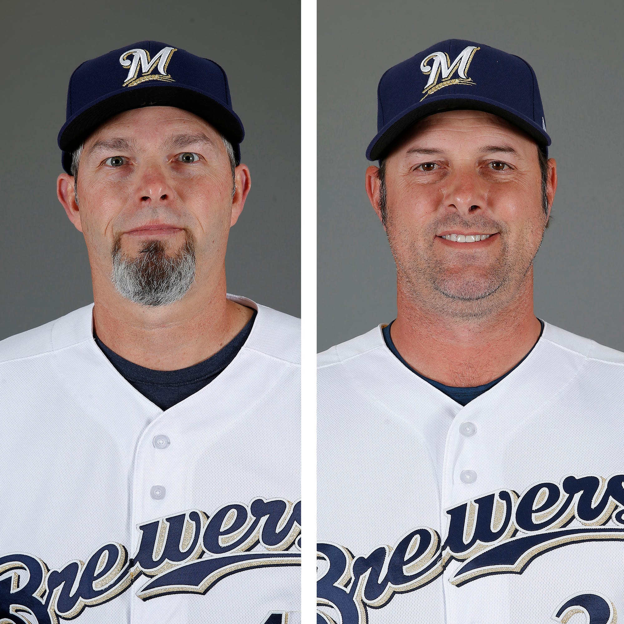 New coaches Chris Hook and Steve Karsay have a unique partnership in directing the Brewers pitchers