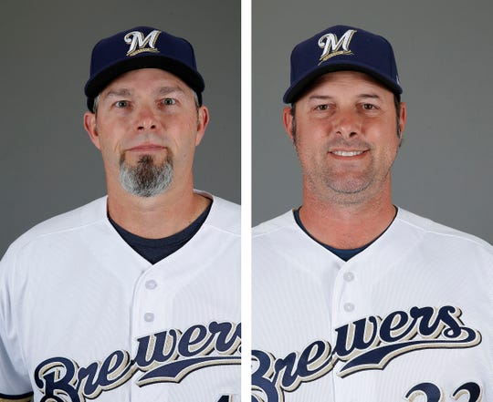 The Brewers' Chris Hook, left, and Steve Karsay have blurred the lines between pitching coach and bullpen coach.