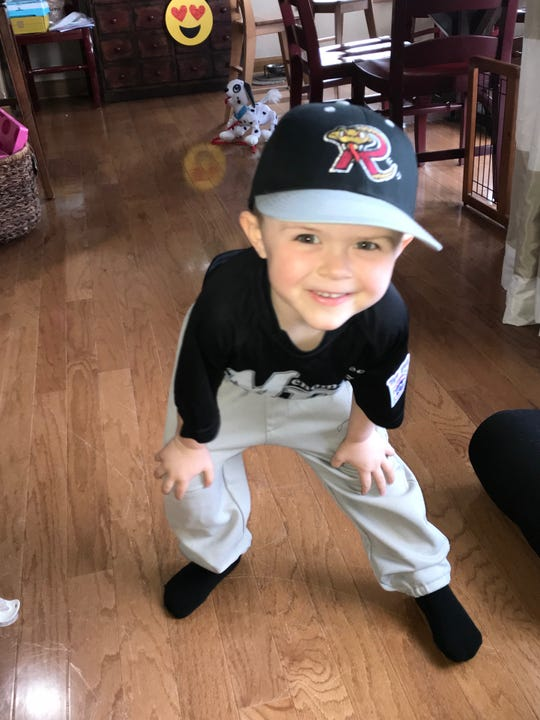 Lincoln Maziasz is ready for t-ball!