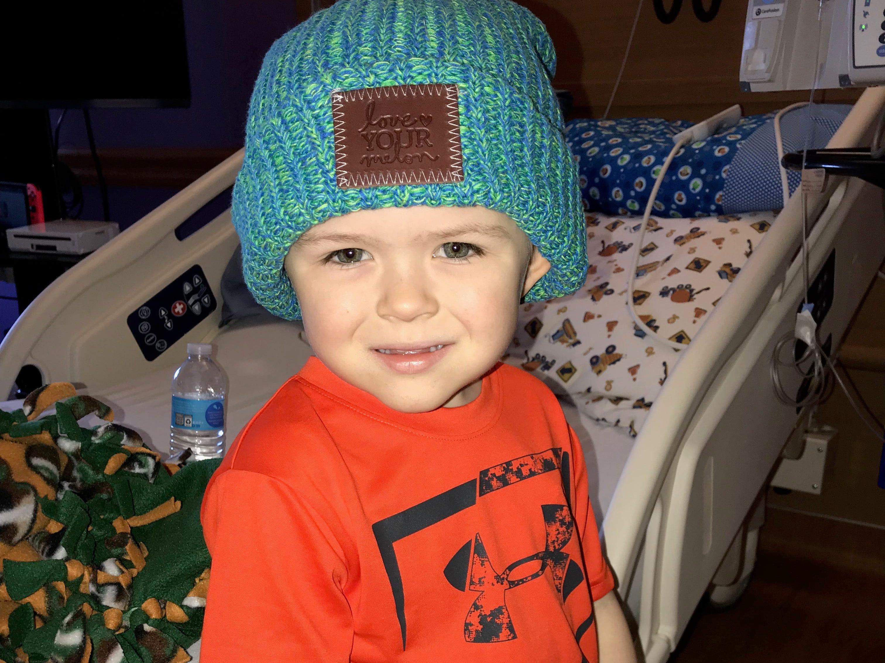 Lincoln Maziasz poses in his Love your Melon hat.