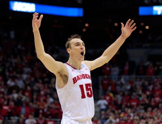 Wisconsin forward Sam Dekker  celebrates the  win.