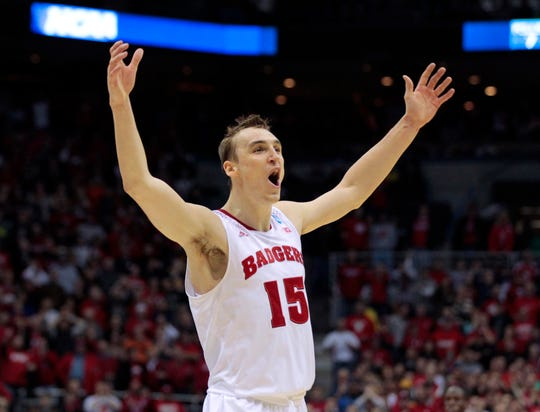 Wisconsin forward Sam Dekker  celebrates the  win.