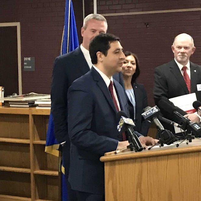 Wisconsin Attorney General Josh Kaul announces the release of the Wisconsin School Threat Assessment Protocol Monday at West Milwaukee Middle School.