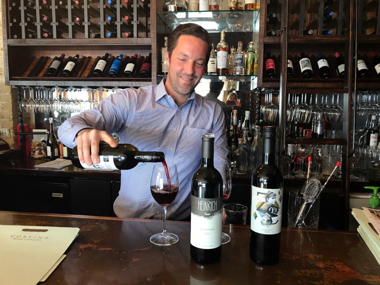 Frank LaSusa of Corvina Wine Company in West Allis pours a flight of Austrian reds.