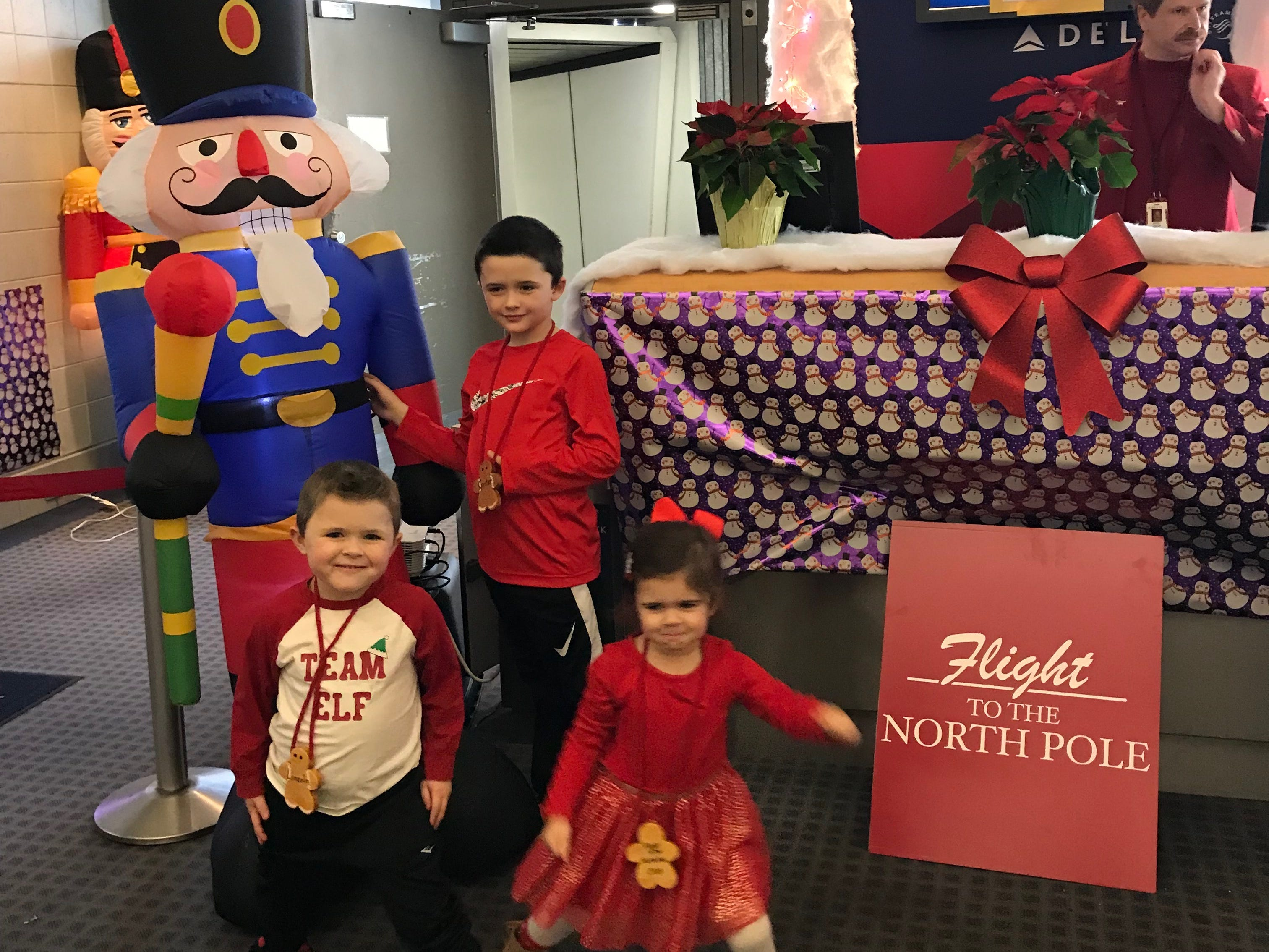 """Lincoln Maziasz and his brother, Carter, and sister, Layne, got the chance to take a """"Flight to the North Pole."""""""