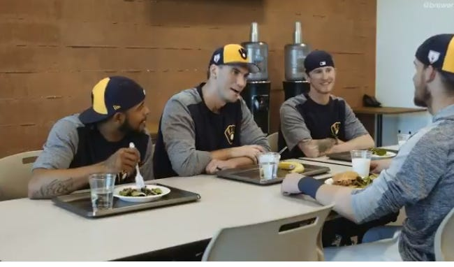 """Brent Suter (center) and other members of the Brewers act out a perfect spoof of """"Mean Girls."""""""