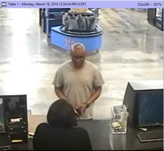 A man reportedly robbed the Woodforest Credit Union located inside the Super Walmart on Louisville Avenue  by passing a note to the teller on Monday. Monroe police pulled security footage for images of the suspect, who has not been identified.