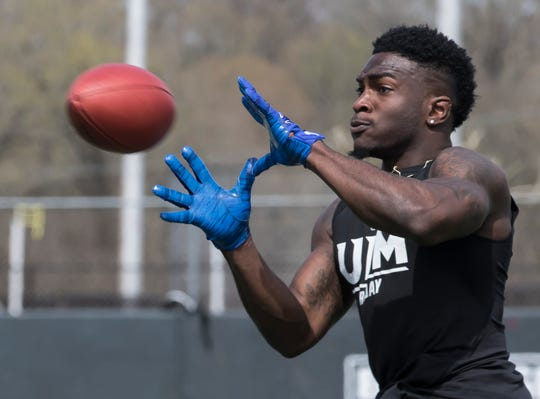University of Louisiana at Monroe's Marcus Green (3) prepares to catch a pass during Pro Day at the university on March 18 in Monroe, La.
