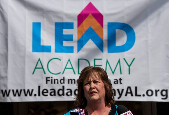 Charlotte Meadows, of LEAD Academy, speaks at a press conference at the school's future campus In Montgomery, Ala., on Monday March 18, 2019.