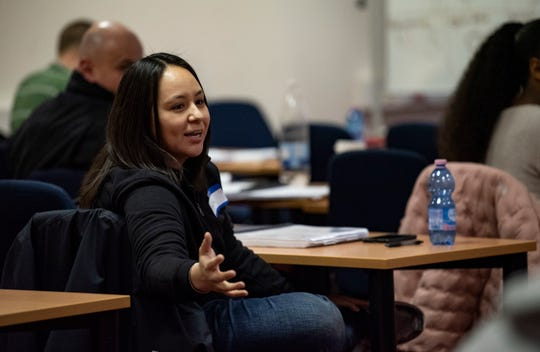 U.S. Air Force Master Sgt. Audri Chavez, 426th Air Base Squadron law office superintendent, Stavanger, Norway, gives feedback to another peer during the Master Resiliency Training Course at Spangdahlem Air Base, Germany, March 13, 2019. Students of the course were taught by five contracted instructors with nearly 50 years of combined resiliency training experience.