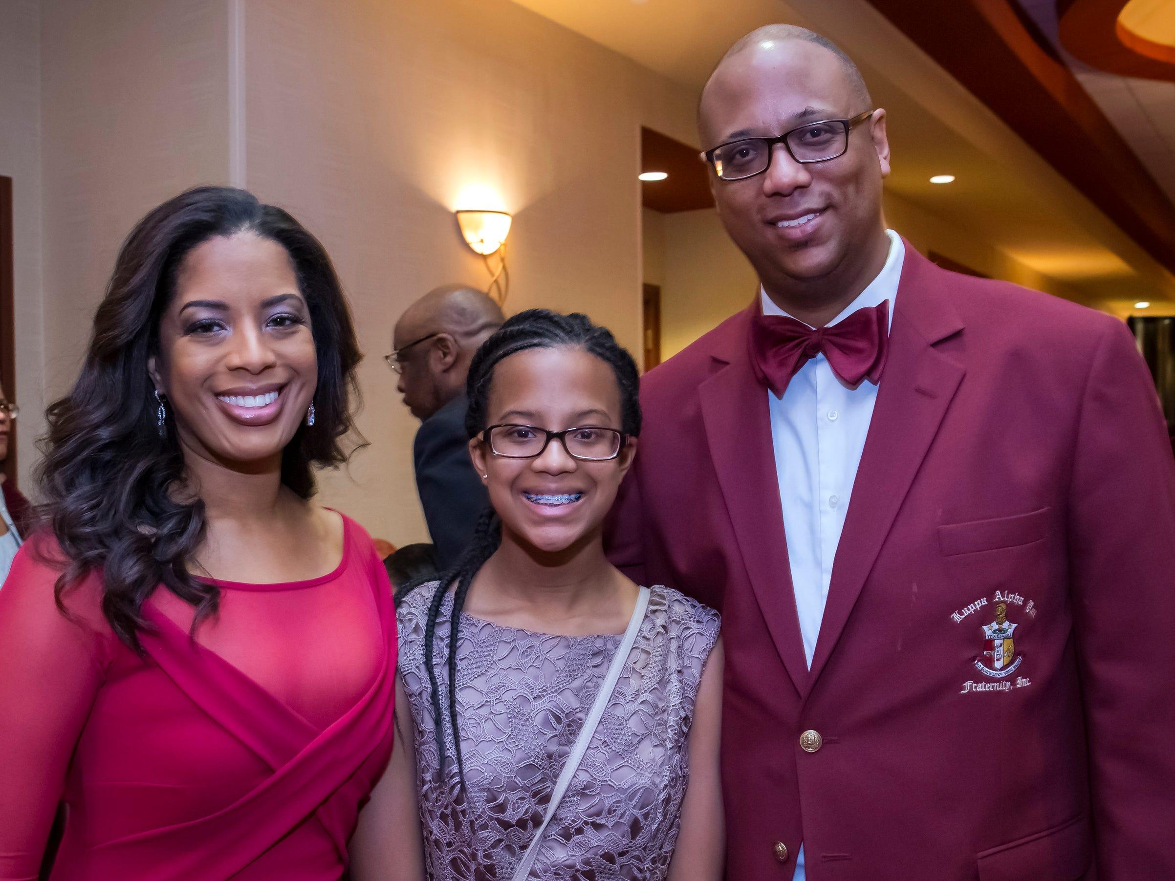 Keta, Amya and Steven Barnes at the Murfreesboro Alumni Chapter of Kappa Alpha Psi Fraternity Beautillion held at Embassy Suites.