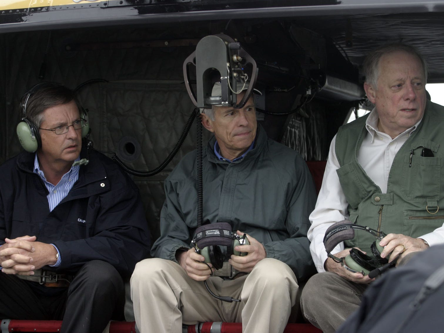 DNJ photo by Aaron Thompson Mayor Tommy Bragg, left; Rep. Bart Gordon, center; and Gov. Phil Bredesen prepare to take a helicopter tour of the affected areas.