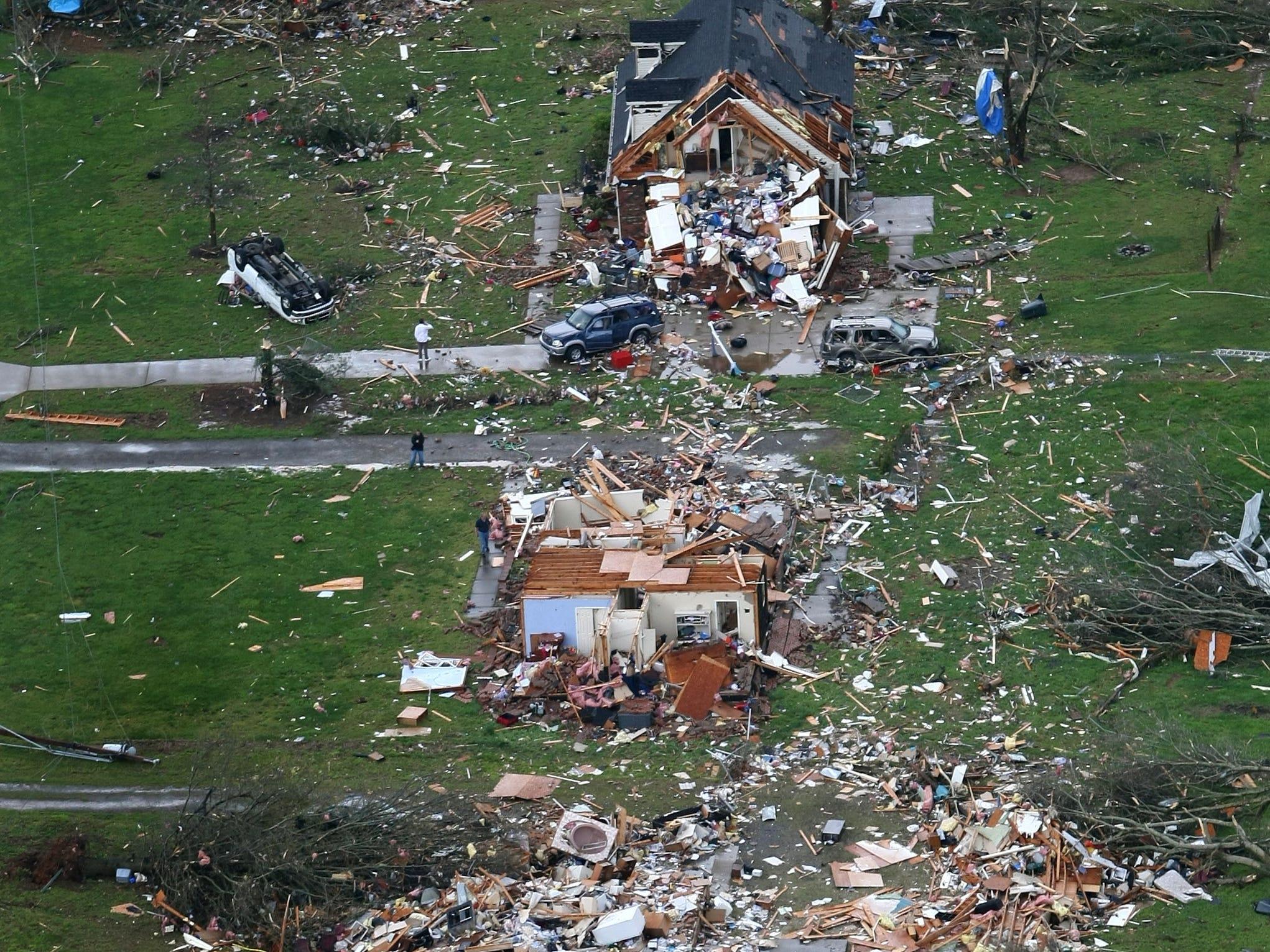 Aerial view of the tornado damage in Murfreesboro, Tenn. The tornado cut a 10 mile path through the city.  April 10, 2009