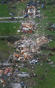 An aerial view of the damage in Murfreesboro after a tornado cut a 10-mile path through the city on April 10, 2009.