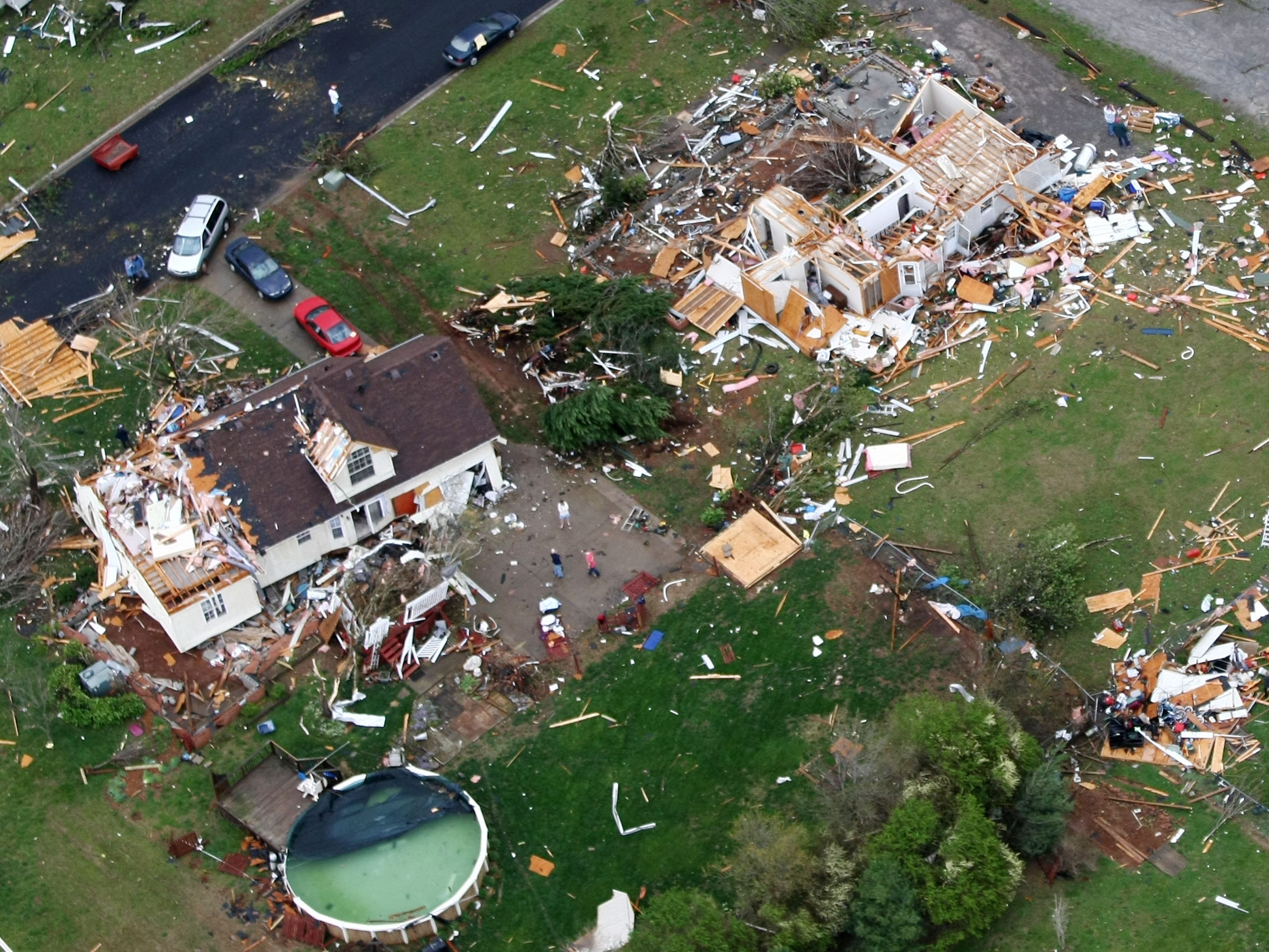 This aerial view of the D'Ann Drive home of Mike and Teresa Bickford shows how the house shifted off the foundation during the Good Friday tornado on April 10, 2009. Their son, Sam, broke his finger trying to close the door as the EF-4 tornado tore through their home.