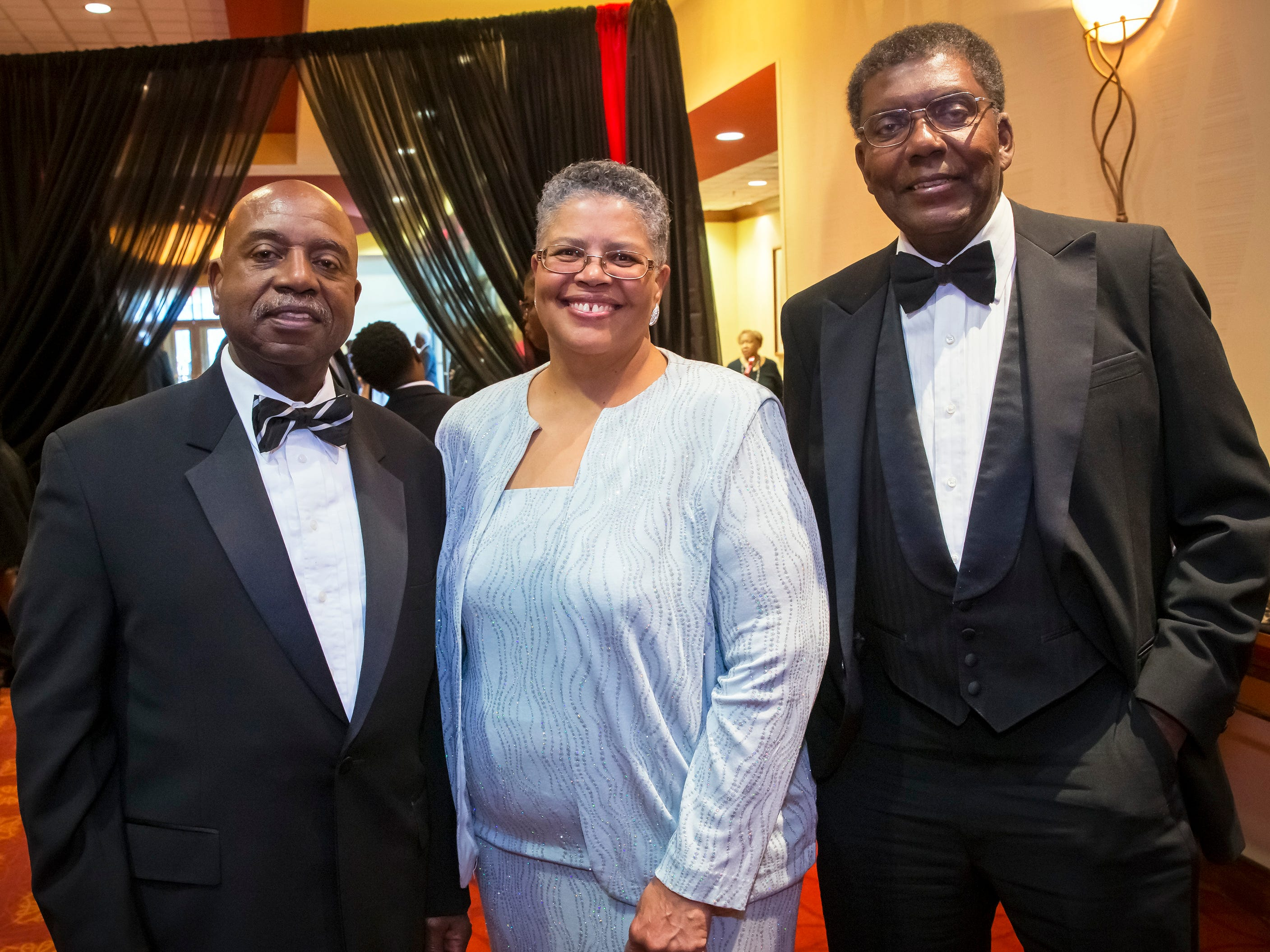 Sam Christy, Evelyn Ellis and James A. Powell, Jr. at the Murfreesboro Alumni Chapter of Kappa Alpha Psi Fraternity Beautillion held at Embassy Suites.