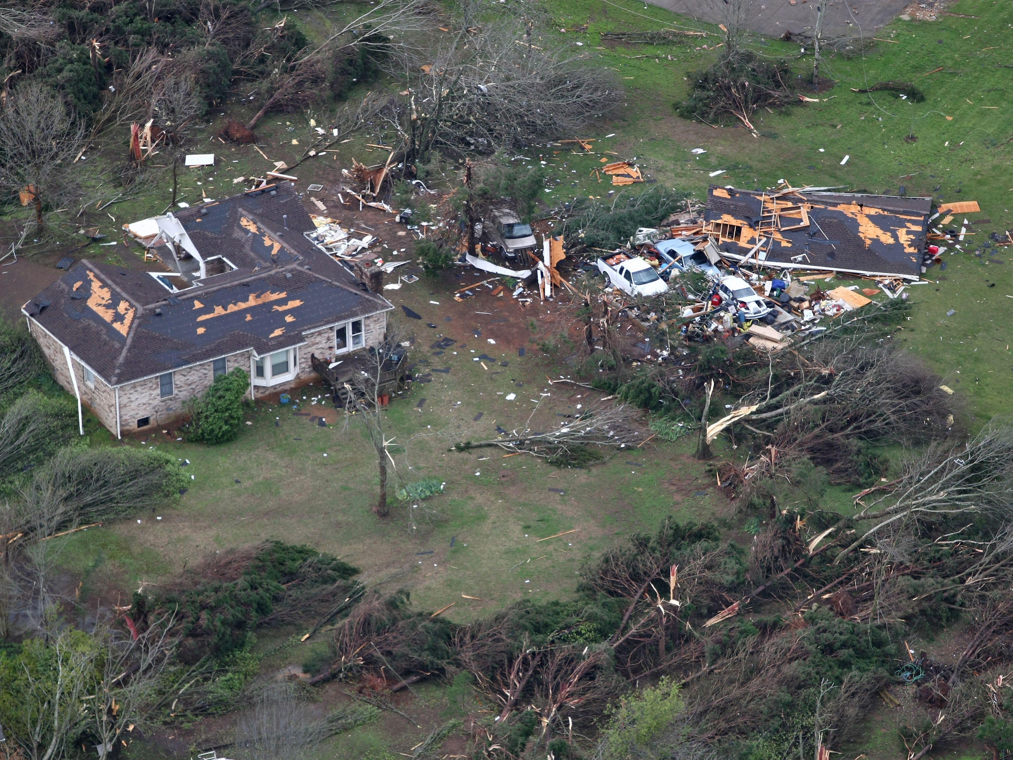 Aerial view of the tornado damage in Murfreesboro, Tenn. The tornado cut a 10 mile path through the city.  April 10, 2009 (photo GEORGE WALKER IV / THE TENNESSEAN)