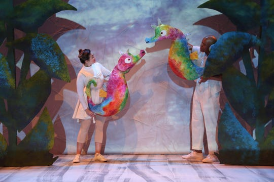 "Isabella Karina Coelho and DeYonte Jenkins perform in Nashville Children's Theatre's production of ""The Very Hungry Caterpillar Show."""