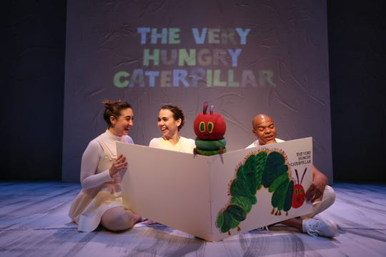 "Isabella Karina Coelho, left, Kristin McCalley and DeYonte Jenkins perform in Nashville Children's Theatre's production of ""The Very Hungry Caterpillar Show."""