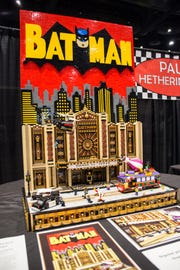 Batman vs. Joker Gotham Theater Showdown Lego display.