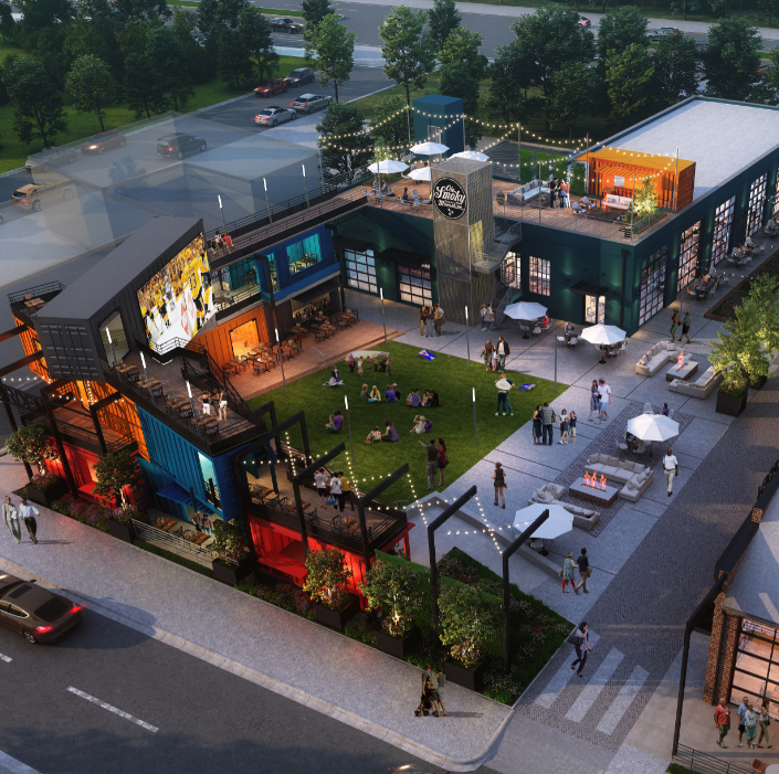 A rendering of a SoBro development underway with...