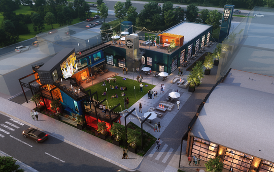 A rendering of a SoBro development underway with Ole Smoky distillery, Yee-Haw Brewing Co. taproom, and outdoor beer garden framed by shipping containers.