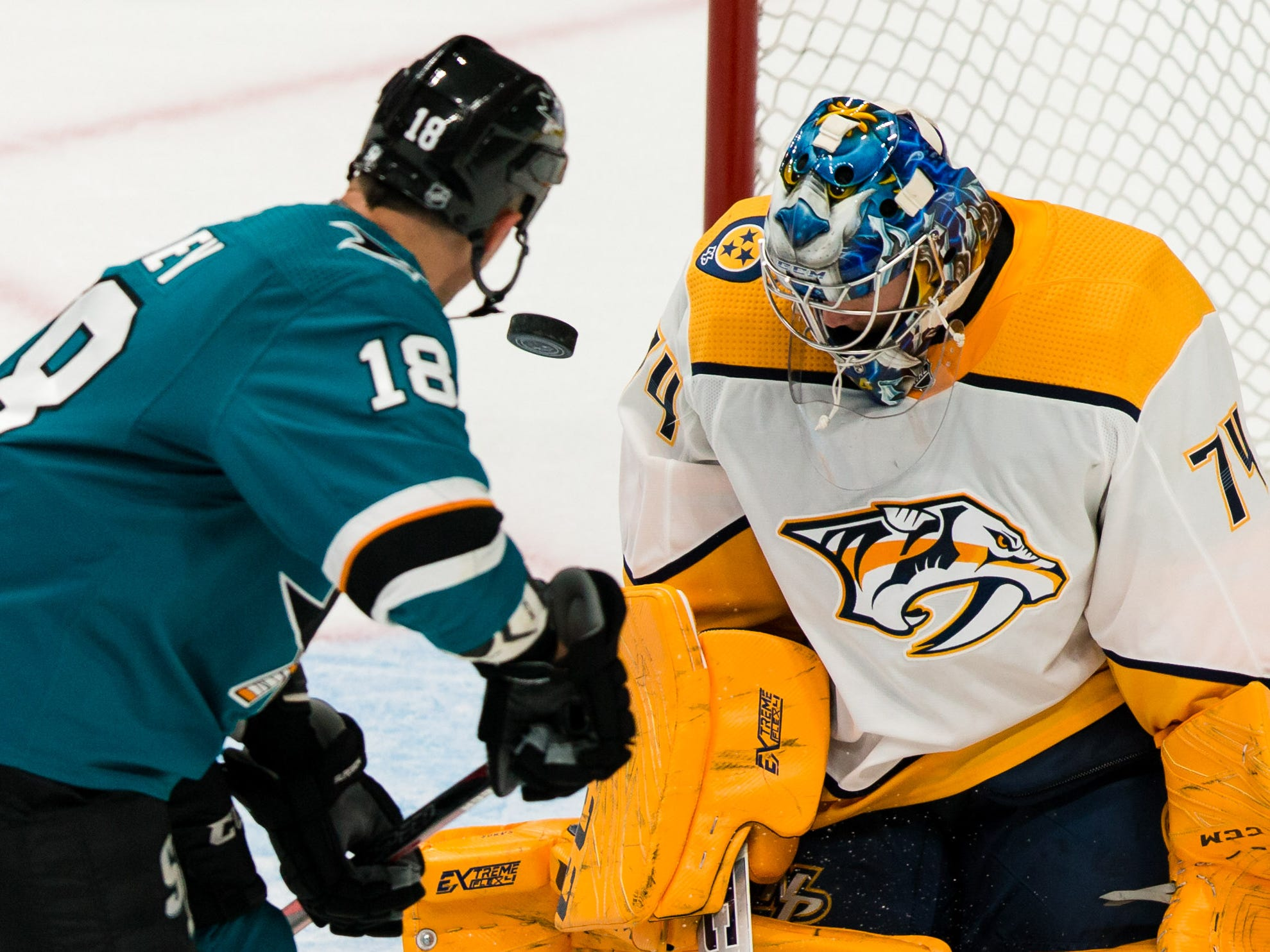 Mar 16, 2019: Predators 4, Sharks 2 -- Nashville Predators goaltender Juuse Saros (74) deflects a shot by San Jose Sharks center Micheal Haley (18) in the third period at SAP Center at San Jose.