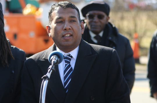 Teaneck Mayor, Mohammed Hameeduddin, speaks at the ground breaking. Teaneck began a project that will refurbish sidewalks on both sides of Teaneck Rd. from Robinson St. to Tryon Ave. The project will also add street lighting and benches for pedestrians to sit, along the sidewalk.  March 18, 2019