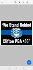 Logo on signs to support Clifton police officers who also serve in the National Guard.