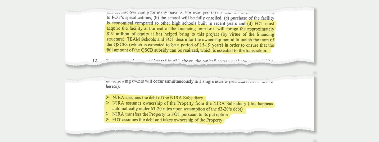 """Excerpts from a 2010 letter from then-TEAM Academy CEO Ryan Hill to state officials. It details how the state will hand off a building to the private  Friends of TEAM in 2027 to meet a tax rule. The Friends plan to """"assume the debt"""" on the building -- erasing a debt that a related company had owed to the Friends."""