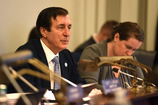 The Assembly Appropriations Committee hearing is underway, where lawmakers have votes planned to advance marijuana legalization. Assemblyman John Burzichelli, D-Gloucester, the committee chairman, said legal weed could be delayed until later into today's hearing, on Monday, March 18 2019 at the New Jersey State House in Trenton.