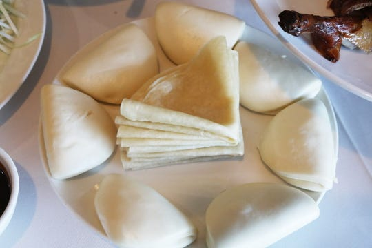 Buns and crepes that are used to  stuffwith Beijing duck at Jasper Restaurant.