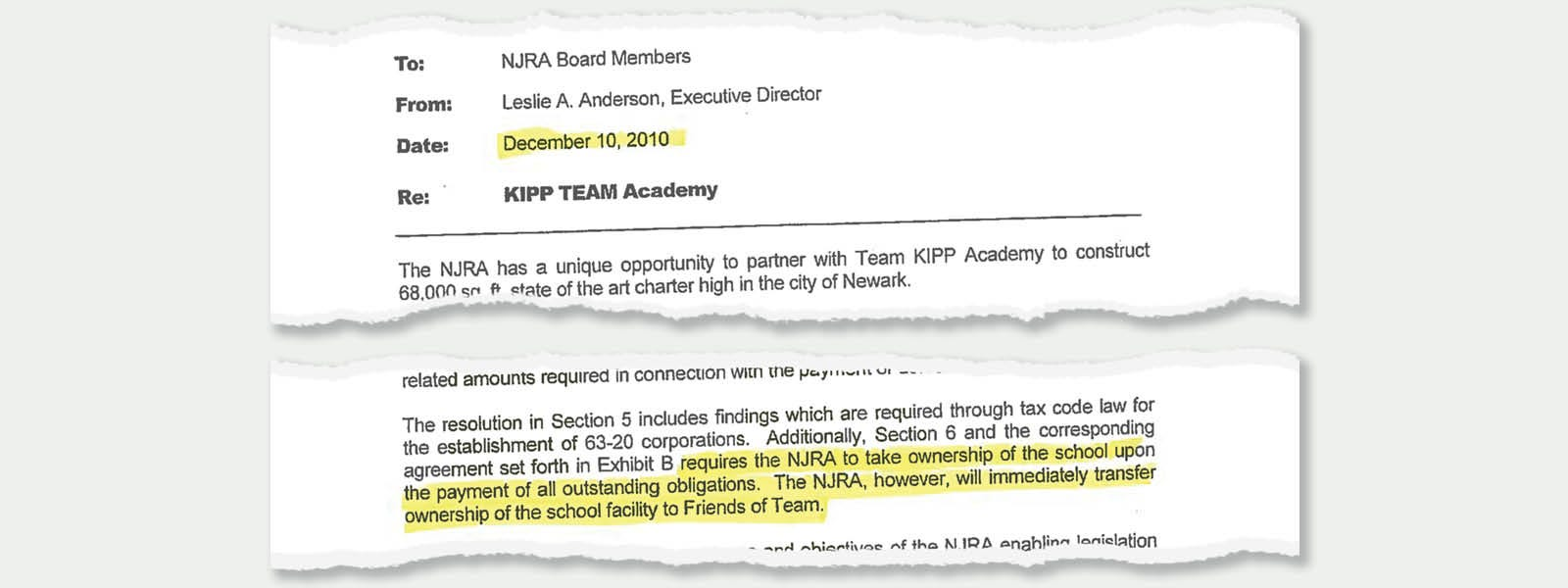 Excerpts from a memo sent by New Jersey Redevelopment Authority head Leslie Anderson telling the agency's board about plans to take ownership of a building to meet a tax rule and then immediately transferring it to the private Friends of TEAM.