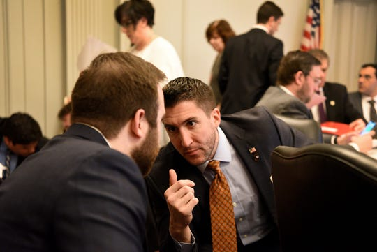 Assemblyman Ryan Peters (R) a member of the Assembly Appropriations Committee, prior to a hearing where lawmakers have votes planned to advance marijuana legalization on Monday, March 18 2019 at the New Jersey State House in Trenton.
