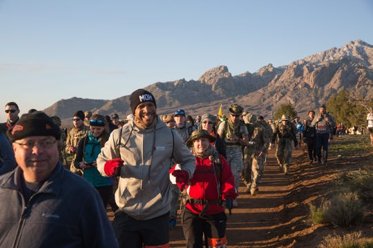 Participants were all smiles in the early stage of the event. More than 8,600 people participated in the 30th Bataan Memorial Death March, staged March 17, 2019, at White Sands Missile Range.