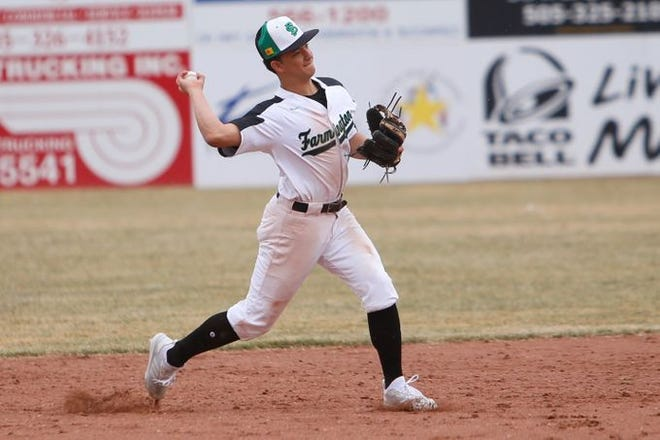 Farmington's Emilio Pardo throws to first base for a quick out against Miyamura during a non-district game on Saturday, March 2 at Ricketts Park in Farmington.