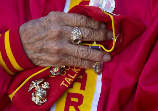 Navajo Code Talker John Kinsel Sr. pauses during the singing of the National Anthem in November 2017 at the San Juan County Administration Offices in Aztec. A bill passed by the Legislature would provide more than $1 million to build a Navajo Code Talker museum and veterans center.
