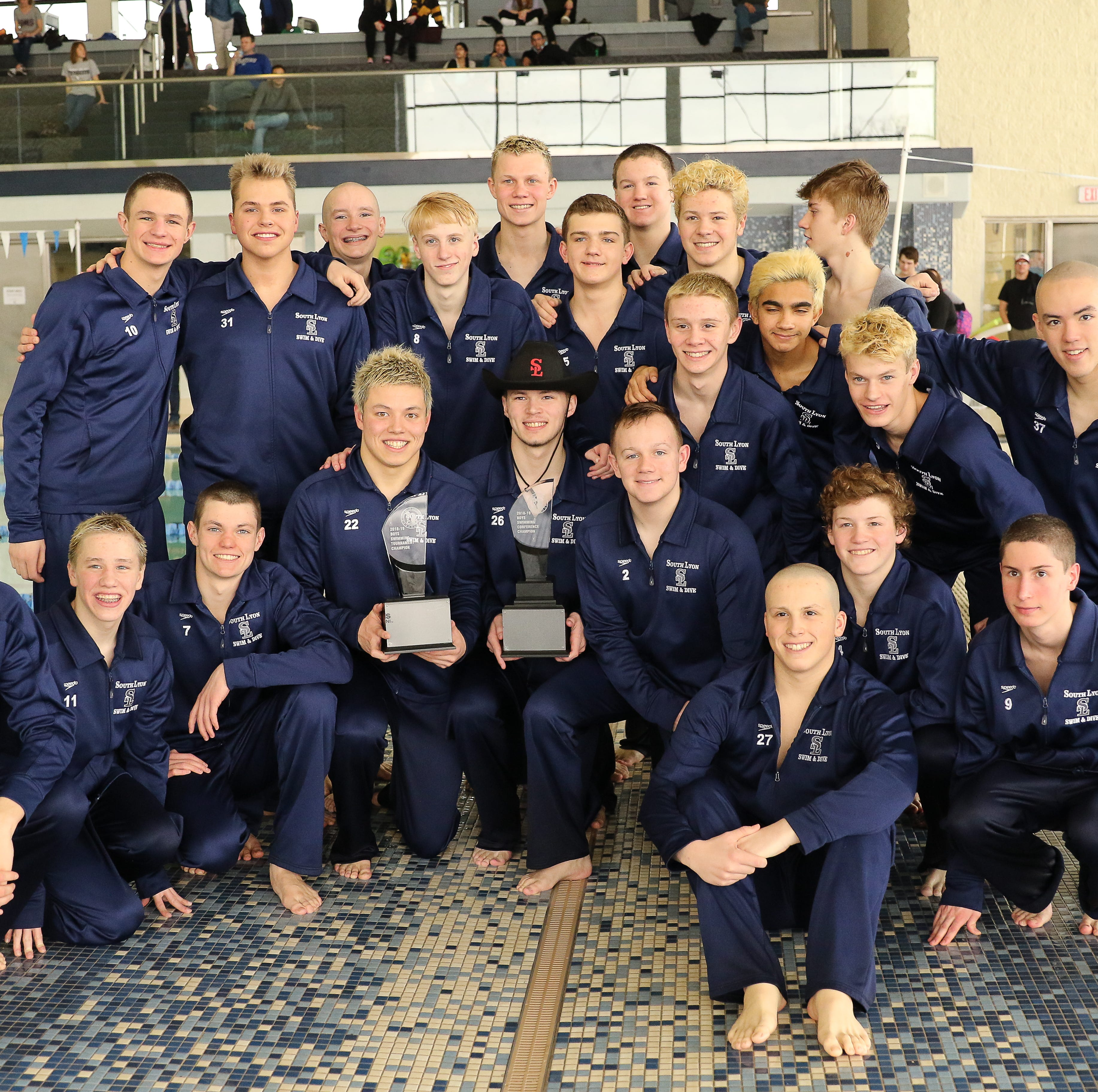 South Lyon Unified boys swim and dive team wins back-to-back conference championships