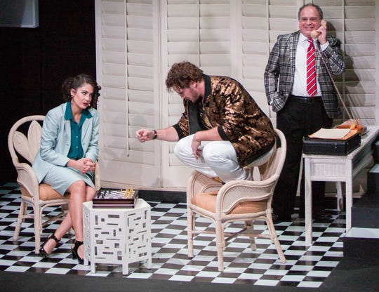 """(From left) Gabriela Carrillo, Garrett Marshall and Glenn Rosenblum are featured in the CVRep production of """"Chess"""" at the CVRep Playhouse in Cathedral City."""